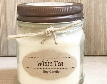 White Tea Candle / Soy Candle /  Aromatherapy Candle