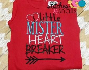 Little Mister Heart Breaker Embroidered Shirt