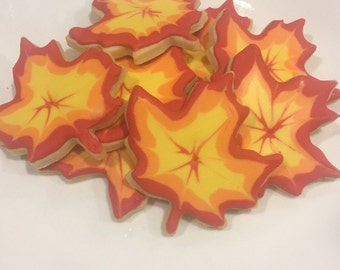 Fall Autumn Thanksgiving Maple Leaf Cookies