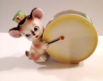 Vintage Kitsch Ceramic Mouse and Drum Planter