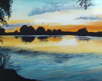 Seascape, landscape of lakeside painting, sunset on the water, original