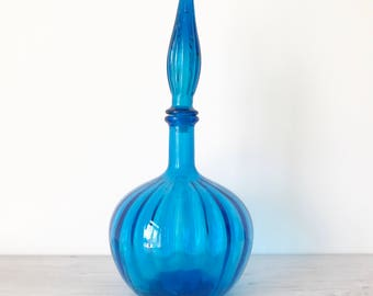 Reserved for Julie - Vintage Blue Glass Genie Bottle Decanter