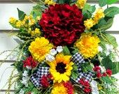 Spring swag wreath, front door wreaths Summer, Sunflower wreath, Hydrangea wreath, french country decor, shabby chic wreath, farmhouse decor