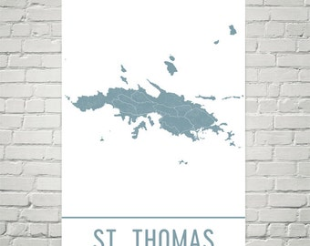 St. Thomas Map, St. Thomas Art, St. Thomas Print, St. Thomas Poster, St. Thomas Wall Art, Map of St. Thomas, St. Thomas Decor, Map Art Print