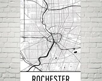 Rochester Map, Rochester Art, Rochester Print, Rochester NY Poster, Rochester Wall Art, Rochester Gift, Map of Rochester, Rochester Decor