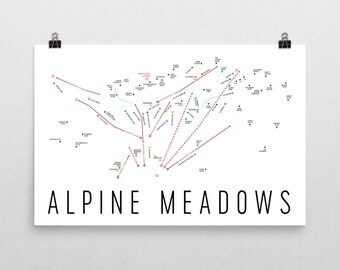 Alpine Meadows Ski Map Art, Lake Tahoe, Alpine Meadows California, Alpine Meadows Trail Map, Gifts For Skiers, Ski Poster, Ski Gift, Ski Map