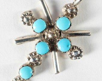 Turquoise Cross Sterling Silver Zuni Tribe Native American Handmade
