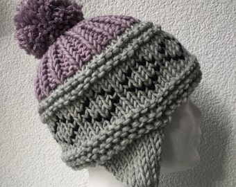 Beanie ear hat with Pompom ears and Grey Heather, lilac, Black / 100% Merino / knit
