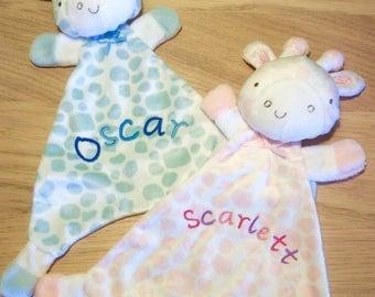Personalised Baby Comforters, Soft Velour Giraffe Comforter