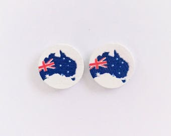 The 'Australia' Wooden Handpainted Earring Studs