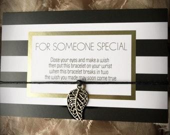Friendship bracelt, charm/wish bracelet. Leaf charm