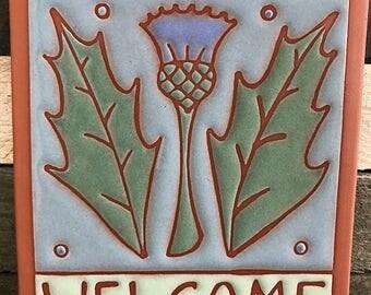 Scottish Thistle  Hanging Terra Cotta Welcome Plaque