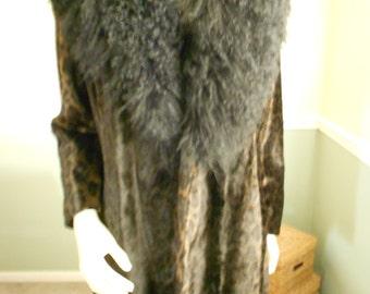Mongolian Fur Collared Coat/ Size 12