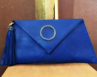 Unique, Clutch bag, Handmade, Envelope Clutch bag, Leather Clutch, Envelope Clutch, Electric blue Clutch, Leather Tassel, Crystal buckle!