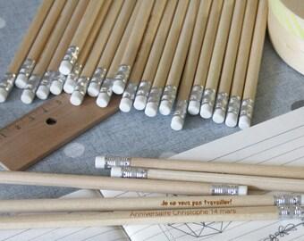 Lot de 100 crayons personnalisés, bois gravé, cadeau pour invités, mariage, fête, anniversaire, personnalisable avec votre texte