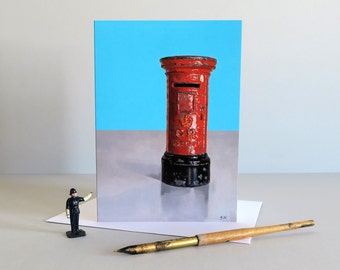 Red Post box card, Postbox card, Royal Mail, British postbox, Letterbox card, Greetings card, Diecast toy, vintage toys - BEST OF BRITISH -