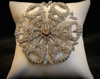 Silver Tone Diamante 1930s Vintage Flower Brooch