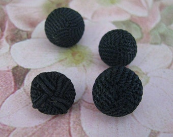 4 Tiny Antique Black Crocheted Childrens Buttons