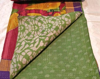 Vintage Reversible kantha quilt, boho kantha throw, cotton sari kantha gudari