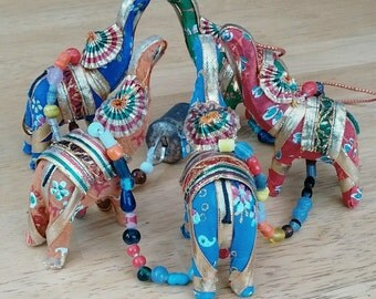 Elephant Garland Lucky Decorative Hanging Vibrant Indian Elephants Strung With Beads And Rustic Bell