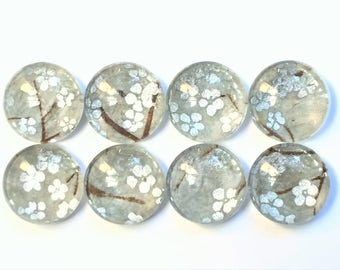 Glass Magnets in Decorative Tin | Set of 8 | Silver Sage | Super Strong | Handmade | Fridge Magnets | Japanese Paper | Silver Sage Magnets