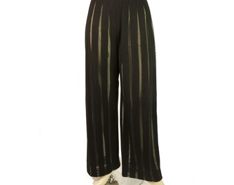 Gianfranco Ferre Black and Sheer Striped Formal Wide Leg Trousers Pants