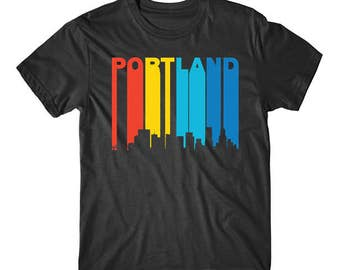Retro 1970's Style Portland Oregon Cityscape Downtown Skyline T-Shirt