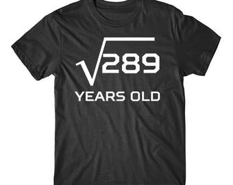 Square Root Of 289 Funny 17 Years Old Funny 17th Birthday Math T-Shirt