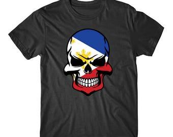 Filipino Flag Skull Cool Philippines Skull T-Shirt