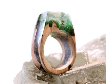 Elven worlds, Amadinia Moss, wooden rings from Mirabelle plum tree wood, unique hand work