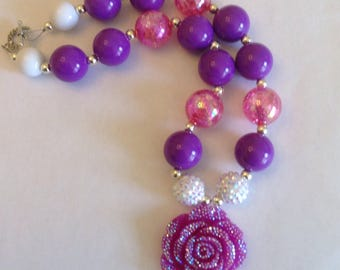 Purple little girl's chunky bubblegum beaded necklace w/ sparkly rose accent pendant, princess inspired necklace, purple pink & white beads
