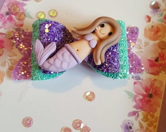 Purple/Green Mermaid bow