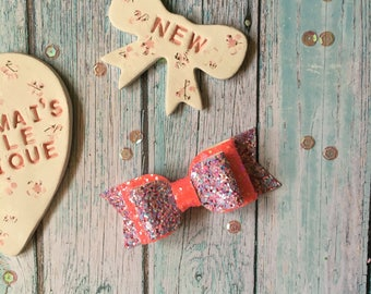 Neon Coral Ellie Bow