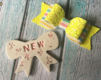 Yellow Glitter Striped Hairbow