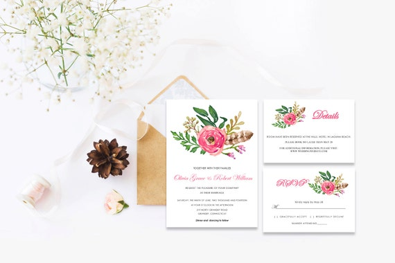Floral wedding invite word_58,INSTANT DOWNLOAD, Editable Wedding template invitation. Microsoft Word template.Wedding Printable