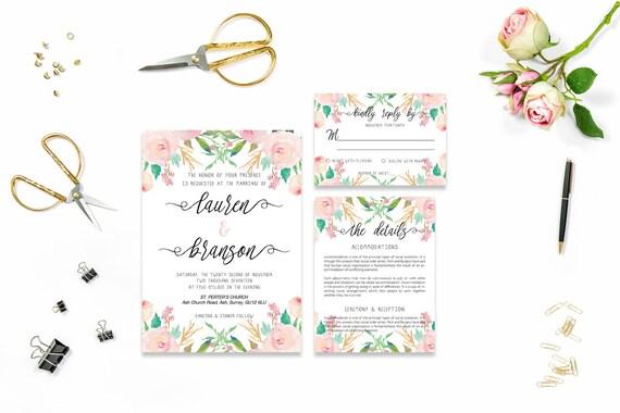 Flower wedding invite_9,Printable Wedding Invitation Suite,Wedding Invite Set,Wedding Printable,Calligraphy
