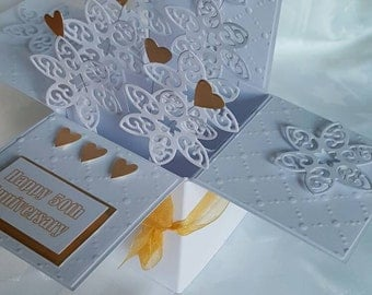 Golden wedding anniversary pop open cards-names can be added