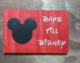 Custom Chalboard Countdown Sign, Wood Sign, Disney Countdown Sign, Custom, Handmade, Disney, Countdown Wood Sign, Chalkboard countdown