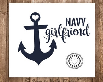Navy Girlfriend / Fiancee / Heart / Decal / Car Decal / Computer Decal / Yeti Decal / Anywhere Decal
