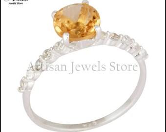 Citrine Gemstone Ring, 925 Sterling Silver White Topaz Gemstone Ring Wedding Engagement Ring