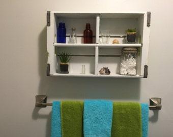 Refinished soda crate shelf