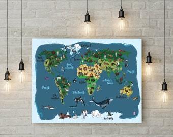 illustration - worldmap: Animals around the world
