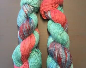 100g Superfine Alpaca / Silk Aran Yarn, hand dyed in Scotland, turquoise, coral variegated