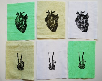 Linocut Anatomy Sew on Patches // Heart and Skeleton Peace Sign