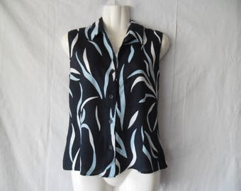 Vintage Blue Tones Abstract Print Sleeveless Summer Blouse Top Buttons Front Maria Reich Size D40