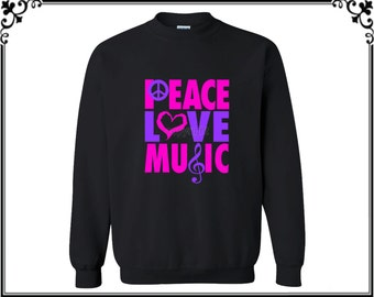 Peace Love Music Crewneck Sweatshirt Peace Love Music Crewneck Peace Sweater Love Sweatshirt Music Crewneck Love Sweater