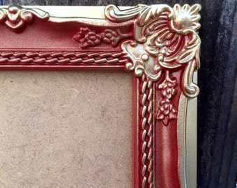 4x6, Red and Gold, Vintage Style Baroque Picture Frame, French Country, Christmas Gift, Wedding Table Number Frames,  Ornate, Shabby Chic