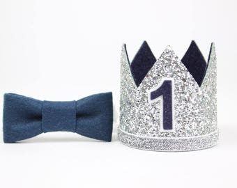 First Birthday Outfit Boy Crown | Baby Boy Birthday Party Hat | First Birthday Glitter Crown | 1st Birthday Hat | SIlver + Navy 1