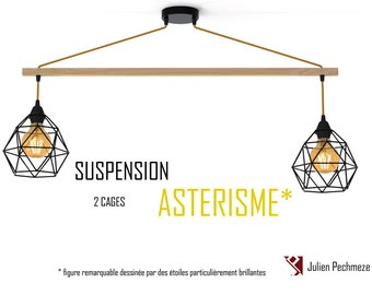 Pendant light Asterism* 2 bulbs, black and mustard scandinavian chandelier