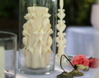Ivory and White Carved Unity Candle Set